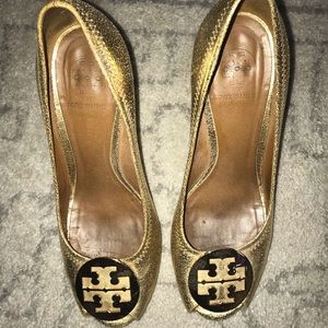 Tory Burch gold heels